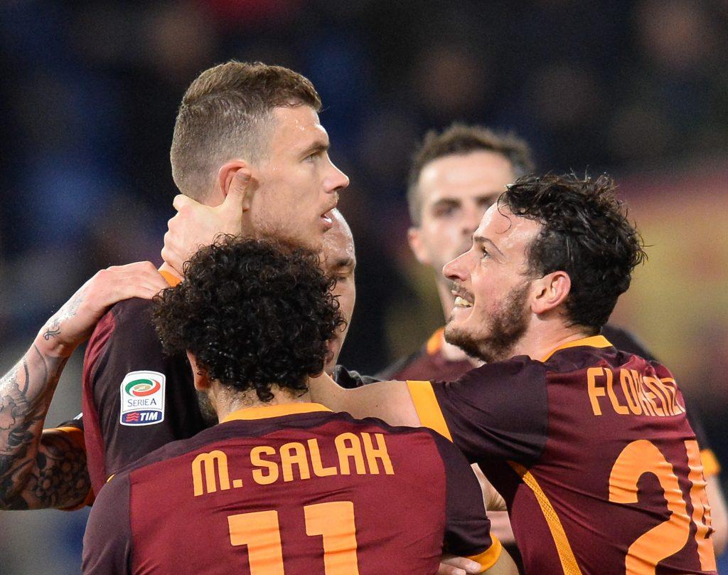 FGN8CY Edin Dzeko, during the Italian Serie A football match A.S. Roma vs U.S. Palermo at the Olympic Stadium in Rome, on febraury 21,