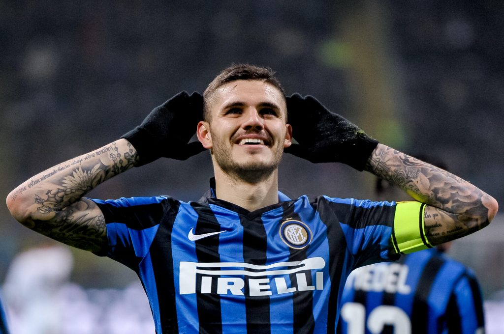 FK6A95 Milan, Italy, 6th March 2016: Mauro Icardi celebrates after scoring during the Serie A football match between FC Internazionale and US CItta di Palermo at Giuseppe Meazza Stadium in Milan, Italy. © Nicolo Campo/Alamy Live News
