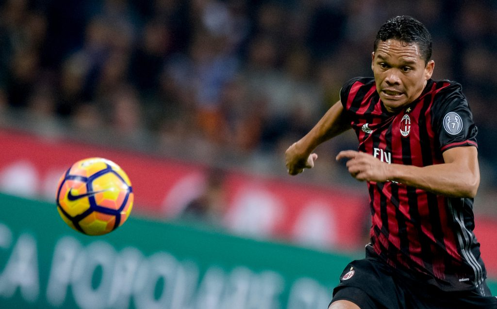 H622X2 Milan, Italy. 22nd Oct, 2016. Carlos Bacca of AC Milan in action during the Serie A football match between AC Milan and Juventus FC. AC Milan wins 1-0 over Juventus FC. © Nicolo Campo/Pacific Press/Alamy Live News