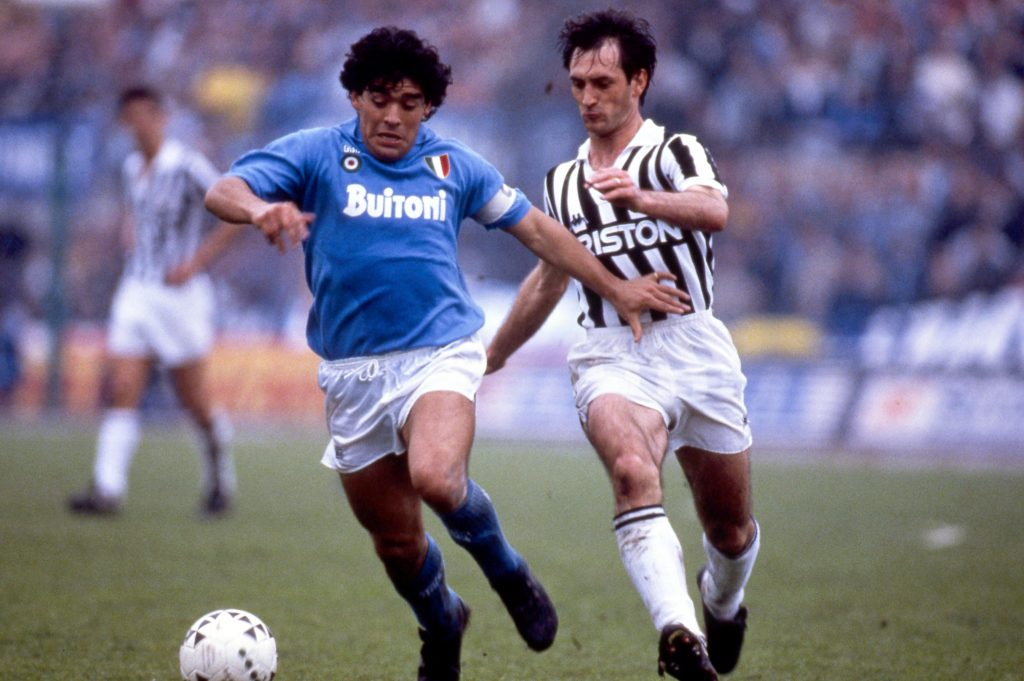 "D7M4GN Diego Armando Maradona (Napoli), Luigi De Agostini (Juventus), APRIL 17, 1988 - Football / Soccer : Italian ""Serie A"" match between Juventus 3-1 Napoli at Municipal Stadium in Torino, Italy. (Photo by Maurizio Borsari/AFLO)"