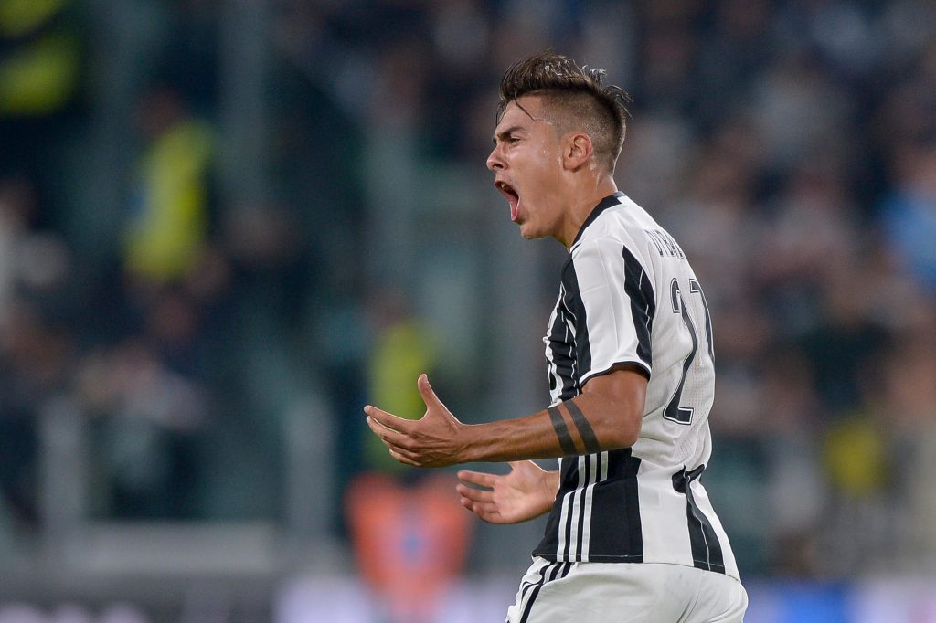 H4GJNE Turin, Italy. 15th Oct, 2016. Paulo Dybala of Juventus FC celebrates after scoring during the Serie A football match between Juventus FC and Udinese Calcio. Juventus FC wins 2-1 over Udinese Calcio. © Nicolo Campo/Pacific Press/Alamy Live News