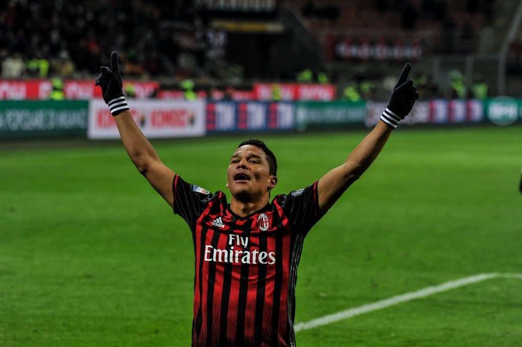HGEK6F Milan, Italy. 08th Jan, 2017. Carlos Bacca of Milan celebratte the goal during Serie A football, AC Milan versus Cagliari. © Geatano Piazzolla/Pacific Press/Alamy Live News