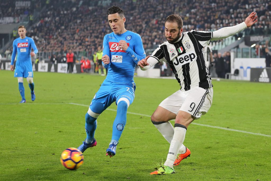 HRB3EW Juventus Stadium, Turin, Italy. 28th Feb, 2017. Gonzalo Higuain (Juventus FC) and Jos? Maria Callej?n (SSC Napoli) compete for the ball during the Italian Cup semi-final between Juventus FC and SSC NAPOLI at Juventus Stadium on February 28, 2017 in Turin, Italy. Juventus wins 3-1 over Napoli. Credit: Massimiliano Ferraro/Alamy Live News