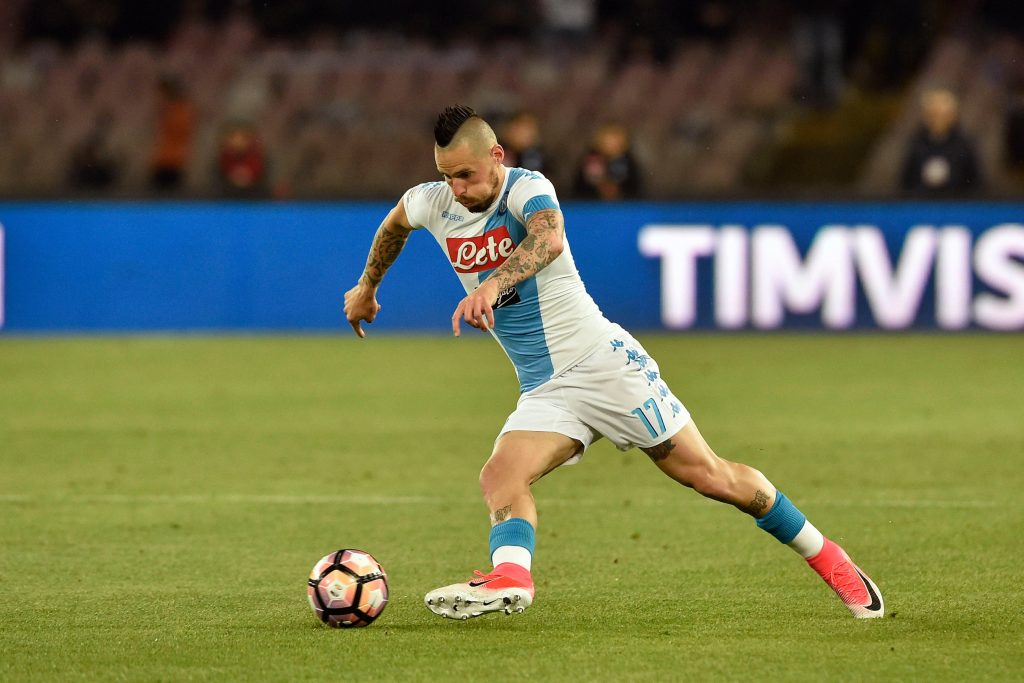 HYA744 Naples, Italy. 2nd April, 2017. Marek Hamsik of Napoli in action during Serie A TIM match between SSC Napoli and Juventus FC at Stadio San Paolo on April 02, 2017 in Naples, Italy. (Photo by Marco Iorio) Credit: marco iorio/Alamy Live News