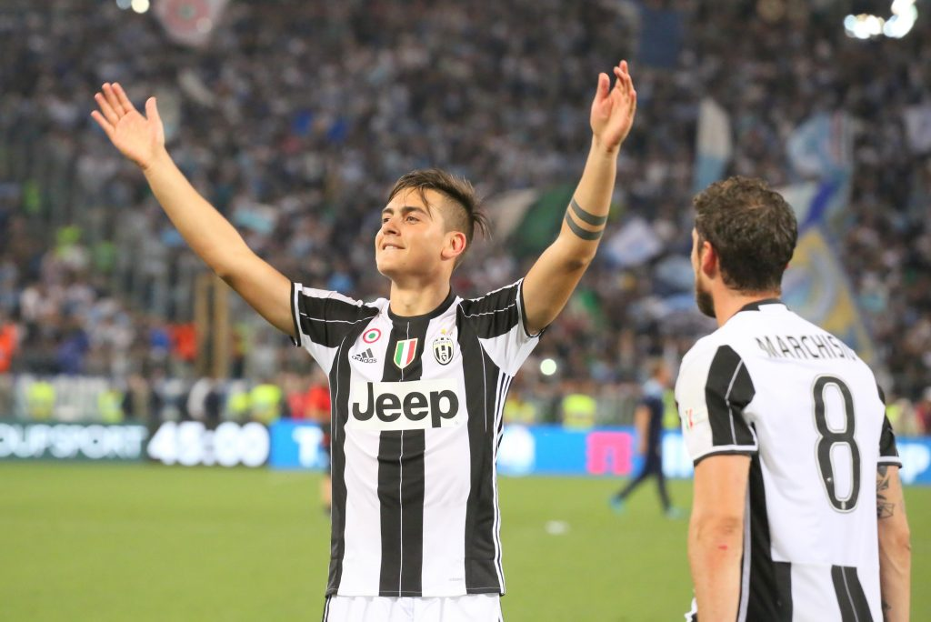 J5PJY0 Rome, Italy. 17th May, 2017. Paulo Dybala (Juventus FC) and Claudio Marchisio (Juventus FC) celebrate the conquest of the Italian Cup after the final against the SS Lazio at the Olympic Stadium on May 17, 2017 in Rome, Italy. Juventus won 2-0 over Lazio. Credit: Massimiliano Ferraro/Alamy Live News
