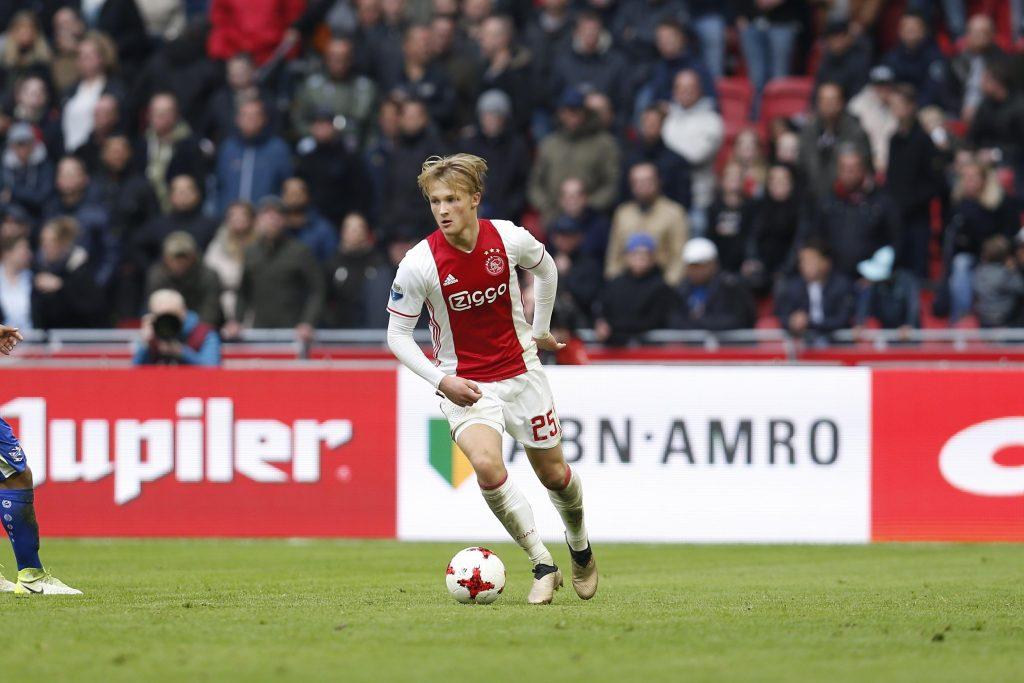 "J10EER Kasper Dolberg (Ajax), APRIL 16, 2017 - Football / Soccer : Dutch ""Eredivisie"" match between AFC Ajax 5-1 sc Heerenveen at the Amsterdam Arena in Amsterdam, Netherlands. (Photo by Mutsu Kawamori/AFLO) [3604]"
