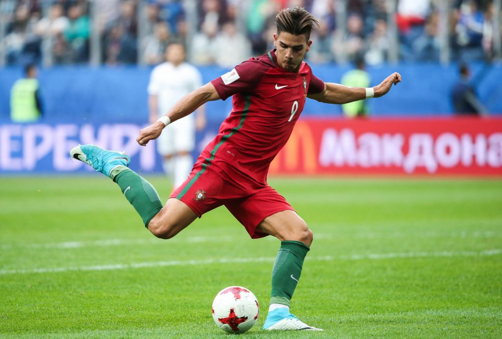 JEDJF9 St Petersburg, Russia. 24th June, 2017. Portugal's Andre Silva controls the ball in their 2017 FIFA Confederations Cup Group A football match against New Zealand at Saint Petersburg Stadium (Krestovsky Stadium). Portugal won the game 4-0. Credit: Valery Sharifulin/TASS/Alamy Live News