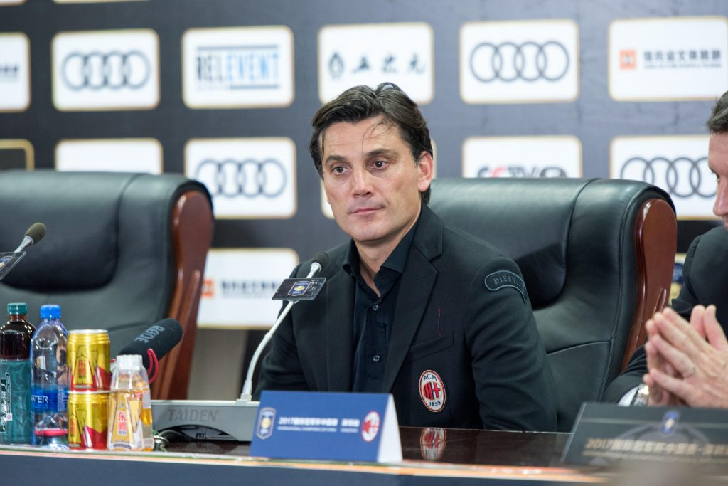 JKGW1X SHENZHEN, CHINA -JULY 22: AC Milan Coach Vincenzo Montella speaks at post match press conference.Bayern Munich vs AC Milan International Champions Cup