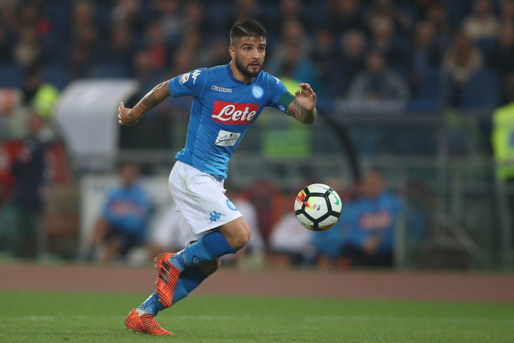 KE11B8 Italy, Rome, october 14 2017: Lorenzo Insigne in action during the football  match Serie A Italian between Roma vs Napoli in Olimpic Stadium in Rome o