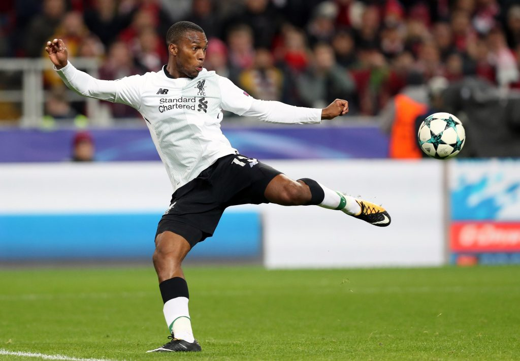 KAHYRM Moscow, Russia. 26th Sep, 2017. Liverpool's Daniel Sturridge in action in the 2017/18 UEFA Champions League Group E Round 2 football match against Spartak Moscow at Otkrytie Arena Stadium. The game ended in a 1-1 draw. Credit: Artyom Korotayev/TASS/Alamy Live News