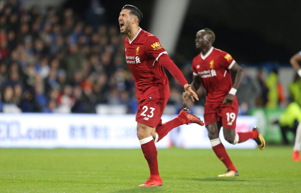 M1FTC1 Huddersfield, UK. 30 January, 2018. Emre Can celebrates goal 30 January 2018 GBB6274 Premier League, Huddersfield Town FC v Liverpool fc 30/01/2018 STRICTLY EDITORIAL USE ONLY. If The Player/Players Depicted In This Image Is/Are Playing For An English Club Or The England National Team. Then This Image May Only Be Used For Editorial Purposes. No Commercial Use. The Following Usages Are Also Restricted EVEN IF IN AN EDITORIAL CONTEXT: Use in conjuction with, or part of, any unauthorized audio, video, data, fixture lists, club/l Credit: Allstar Credit: Allstar Picture Library/Alamy Live News