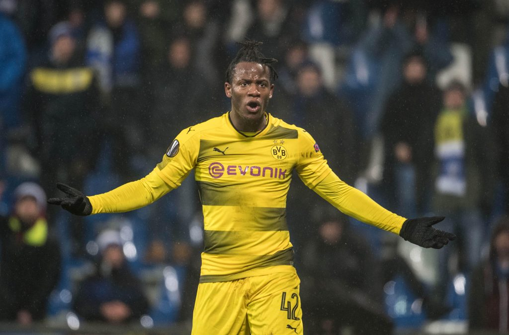 M5F19T 22 February 2018, Italy, Bergamo: Soccer, UEFA Europa League, Round of 32, 2nd leg: Atalanta Bergamo vs Borussia Dortmund. Dortmund's Michy Batshuayi reacts. Photo: Bernd Thissen/dpa