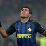 "Inter Milan's forward from Brazil Eder celebrates after scoring during the Italian Serie A football match Inter Milan vs Pescara at ""San Siro"" Stadium in Milan on January 28, 2017.   / AFP / GIUSEPPE CACACE        (Photo credit should read GIUSEPPE CACACE/AFP/Getty Images)"